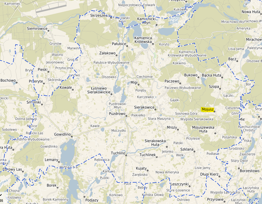 Mapa gminy Sierakowice